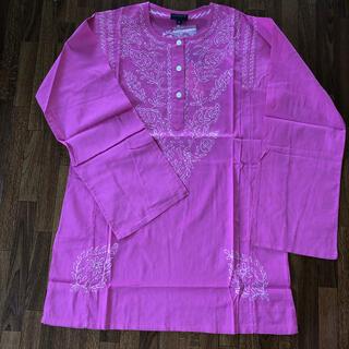 アンティックバティック(Antik batik)のANTIK BATIK刺繍 長袖カットソー M ピンクホワイト(シャツ/ブラウス(長袖/七分))