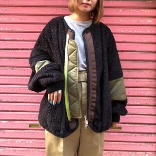 ジエダ(Jieda)のelephant TRIVAL fabrics ライナーボアブルゾン黒(ブルゾン)