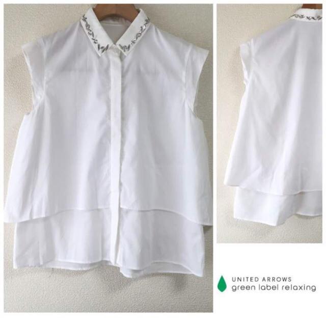 green label relaxing(グリーンレーベルリラクシング)のお値下げ❣️green label relaxing▷ビジュー襟 2wayシャツ レディースのトップス(シャツ/ブラウス(半袖/袖なし))の商品写真