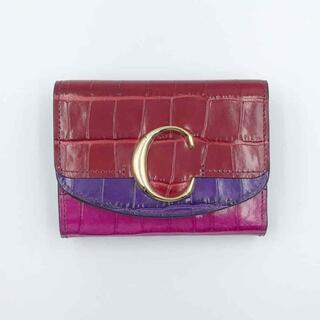 クロエ(Chloe)のCHLOE クロエ Cロゴ クロコ ミニ財布 コンパクト財布 三つ折り財布(折り財布)