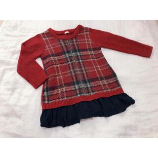 ジーユー(GU)のGU 裾切り替えニット セーター(ニット)