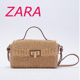 ザラ(ZARA)のZARA  ウーブンボックスクロスボディバック ナチュラル(かごバッグ/ストローバッグ)