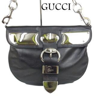 グッチ(Gucci)のグッチ ロゴ ベルト デザイン レザー メタル ショルダー バッグ(ショルダーバッグ)