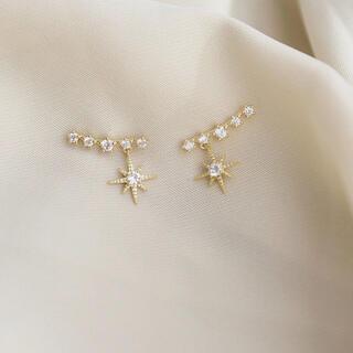 スタージュエリー(STAR JEWELRY)のgold star zirconia pierce ◯s925 post(ピアス)