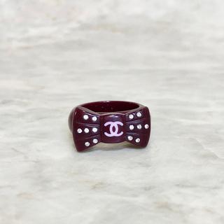 シャネル(CHANEL)の正規品 シャネル 指輪 リボン ココマーク ラインストーン パープル 石 リング(リング(指輪))