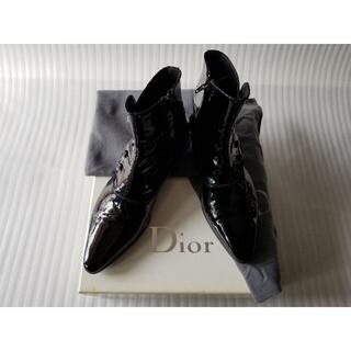DIOR HOMME - ディオールオムエディスリマンメンズ黒エナメル加工レザーブーツサイズ41
