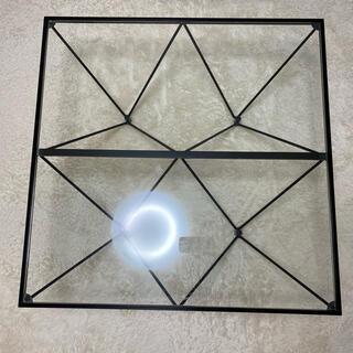 ガラステーブル 強化 クリアガラス ブラック スクエア 正方形 ローテーブル(ローテーブル)
