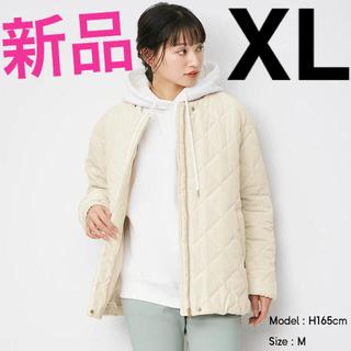 ジーユー(GU)の【新品】GU ノーカラーキルティングジャケット XLサイズ(ノーカラージャケット)