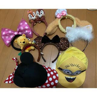 ディズニー(Disney)のディズニーカチューシャ 耳付き帽子  6点セット+2点プレゼント(キャラクターグッズ)
