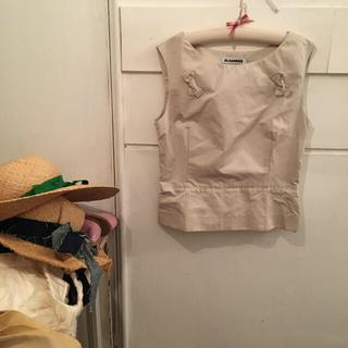 ジルサンダー(Jil Sander)の最終価格🤍🤍JIL SANDER ribbon tops.(シャツ/ブラウス(半袖/袖なし))