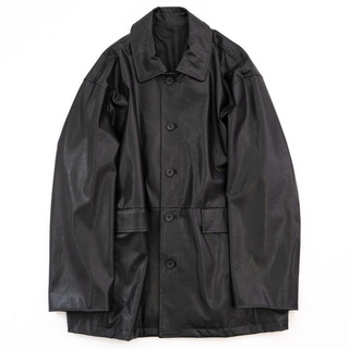 "サンシー(SUNSEA)のFAKE LEATHER CAR JACKET ""BLACK""(レザージャケット)"