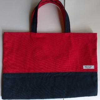 キャンバス生地(レッド&ネイビー)の手提げ袋(レッスンバッグ)(バッグ/レッスンバッグ)