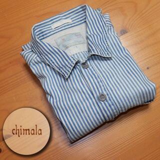 chimala チマラ ヒッコリープルオーバーシャツ ヴィンテージ加工 サイズM(シャツ/ブラウス(長袖/七分))