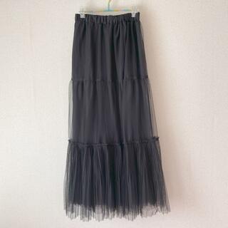 ☪️チュール/ロングスカート黒/L試着のみ✨(ロングスカート)