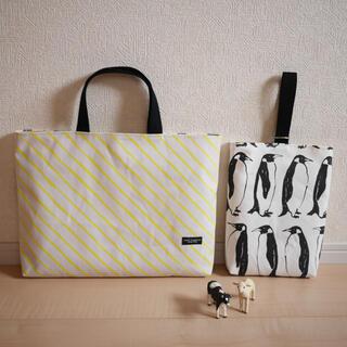 PENGUIN & STRIPE 帆布のレッスンバッグ&うわばき入れ(バッグ/レッスンバッグ)