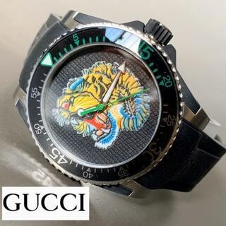 グッチ(Gucci)の【新品】グッチ GUCCI DIVE ダイブ 虎 クォーツ メンズ腕時計 黒(ラバーベルト)