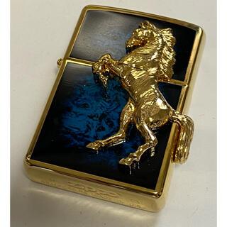 ジッポー(ZIPPO)のZippo/ライター/ウィニーホース/勝ち馬/2013/ゴールド/ブルー/未使用(タバコグッズ)