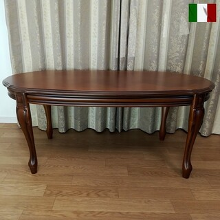 センターテーブル 格子模様 イタリア製(ローテーブル)