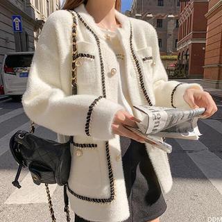 エイミーイストワール(eimy istoire)の白ミンク カシミヤ コート(ノーカラージャケット)