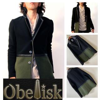 オベリスク(Obelisk)の良品◆Obelisk オベリスク◆カラーブロック レザートリム ジャケット L(テーラードジャケット)