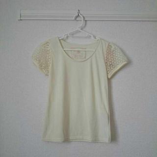 ミスティウーマン(mysty woman)の天竺オーガンジー刺繍パフTシャツ(Tシャツ(半袖/袖なし))