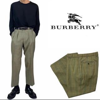 バーバリー(BURBERRY)のBurberrys チェック柄 オリーブ スラックス(スラックス)