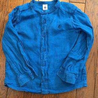 プチバトー(PETIT BATEAU)のプチバトー リネン ノーカラーシャツ 116 麻(ブラウス)