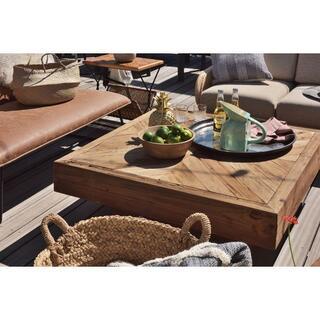 【在庫限り】天然木(パイン)の古材仕様 正方形 センターテーブル 無垢材 B(ローテーブル)
