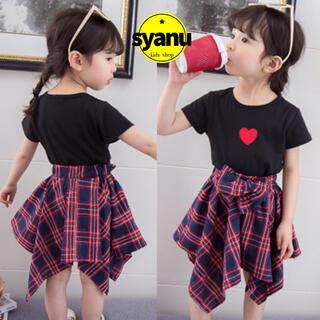 キッズ シンプルハートTシャツ&チェックスカートセットアップ韓国子供服 黒(Tシャツ/カットソー)