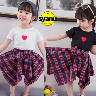 キッズ シンプルハートTシャツ&チェックスカートセットアップ韓国子供服 (Tシャツ/カットソー)