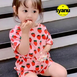 キッズ いちごセットアップ 韓国子供服   Tシャツ ショートパンツ 夏物 (Tシャツ/カットソー)