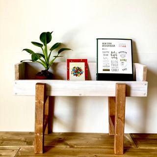 プランター スタンド おしゃれ 木製 フラワー ラック 花台 本棚 飾り台 白(プランター)