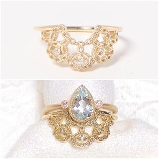 アガット(agete)の新品 sowi ソーイ K10 ダイヤモンド 透かし リング #11(リング(指輪))