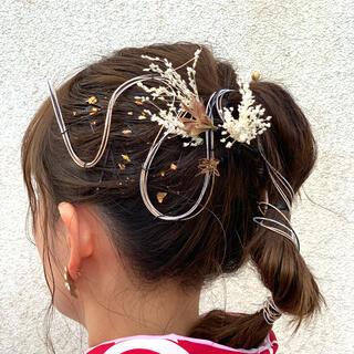 卒業式 ウエディング 髪飾り 水引き ドライフラワー アレンジ(ドライフラワー)