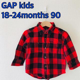 ギャップキッズ(GAP Kids)のGAP チェックシャツ 18-24m 90  羽織りに 腰巻きに(Tシャツ/カットソー)