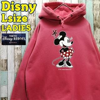 ディズニー(Disney)の【レア】ディズニー☆スウェットパーカー ミニー ミッキー ビッグロゴ 刺繍ロゴ(パーカー)
