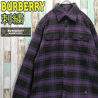 バーバリーブラックレーベル(BURBERRY BLACK LABEL)の【レアカラー】バーバリーブラックレーベル☆ネルシャツ ワンポイント刺繍ロゴ(シャツ)