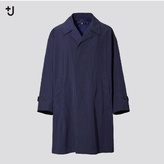 ユニクロ(UNIQLO)の【紺メンズL】UNIQLO +J オーバーサイズステンカラーコート(ステンカラーコート)