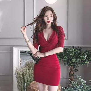 エンジェルアール(AngelR)の新品未使用レースワンピースキャバ嬢ドレス赤Jewel angelR frayid(ひざ丈ワンピース)