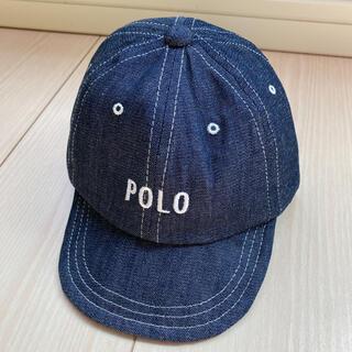 しまむら - 【ポロベビー】ロゴ刺繍 キャップ 帽子 インディゴ