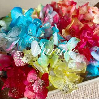 ソフトゆめ紫陽花 熱帯カラー ラメ付き ハーバリウム花材(プリザーブドフラワー)
