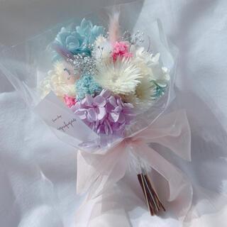 シャーベットカラー ドライフラワー 花束 ブーケ スワッグ ギフト(ドライフラワー)