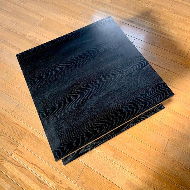 天然木スクエアローテーブル  キャスター付き ブラック 黒 インテリア/住まい/日用品の机/テーブル(ローテーブル)の商品写真