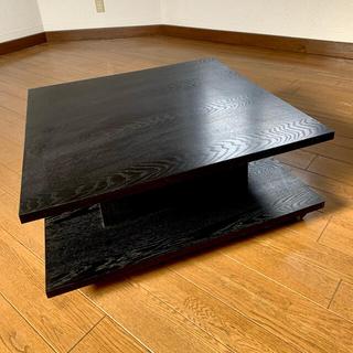 天然木スクエアローテーブル  キャスター付き ブラック 黒(ローテーブル)