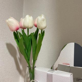 チューリップ 造花 インテリア  ホワイト+ピンク(その他)