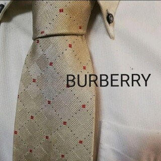 BURBERRY - 大人気★BURBERRYバーバリー★光沢シャンパンゴールド系ホースロゴ入ネクタイ