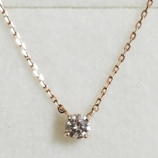 K10PG 1粒ダイヤモンドネックレス(ネックレス)
