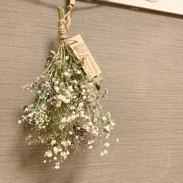 ドライフラワー 小花とユーカリの癒されスワッグ インテリア ハンドメイドのフラワー/ガーデン(ドライフラワー)の商品写真