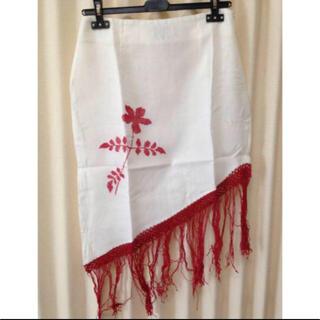 アンティックバティック(Antik batik)のANTIK BATIK 刺繍スカート M ホワイト(ひざ丈スカート)