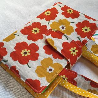 生成りオレンジ花レビューブックカバー(ブックカバー)